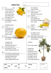 English Worksheet: Lemon Tree - Karaoke Gap-fill