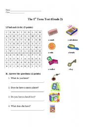 English worksheet: the first term test-grade 2