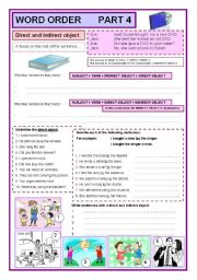 English Worksheets: Word order part 4 direct and indirect object  (4/7)