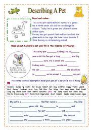 English Worksheets: Describing A Pet