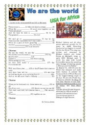English Worksheet: We are the world lyrics - Song to use in the topic of Volunteering (with KEY)