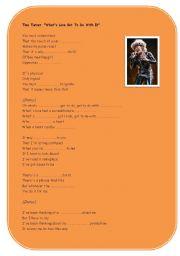 English Worksheet: Listening activity Song Tina Turner