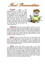 English Worksheets: Food Personalities Reading Comprehension