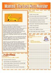 English Worksheet:  The Loch Ness Monster :READING AND GRAMMAR Series N� 6