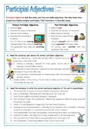 English Worksheet: Participial Adjectives (ed or ing)
