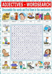 English Worksheet: ADJECTIVES-WORDSEARCH
