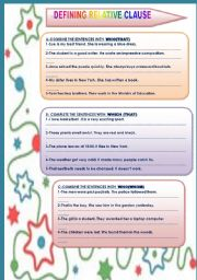 English Worksheet: DEFINING RELATIVE CLAUSE(2 PAGES)