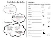 English Worksheet: The Indefinite Article ( a/an)