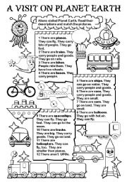 English Worksheets: A visit on Planet Earth (transports)