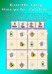 English Worksheet: Earth Day Sudoku