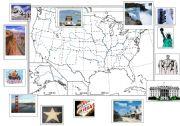 English Worksheet: the usa + major landmarks
