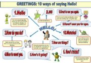 English Worksheet: GREETINGS: 10 WAYS OF SAYING HELLO! -GUIDE IN A POSTER FORMAT