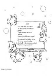 English Worksheet: A fish poem