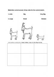English Worksheets: The Three Billy Goat Size Worksheet