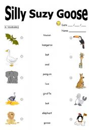 English Worksheets: Silly Suzy Goose