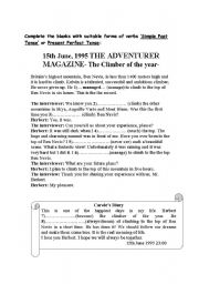 English Worksheet: Reading activity for present perfect tense lesson plan