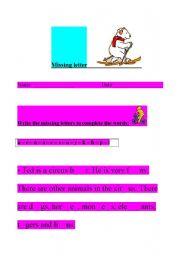 English Worksheets: missing letter