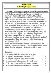 English worksheet: EXCELLENT TEST