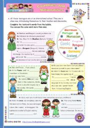 English Worksheet: Countries and nationalities   (1st in a series of 4) - a 2-page-Reading comprehension for Elementary or Lower Intermediate students