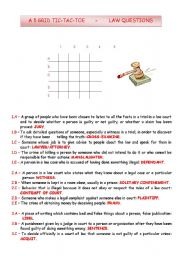 English Worksheet: TIC-TAC-TOE - LAW QUESTIONS