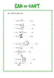 esl kids worksheets what can animals do. Black Bedroom Furniture Sets. Home Design Ideas