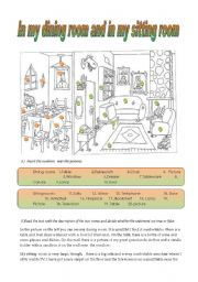 English Worksheet: in my dining room and in my sitting room