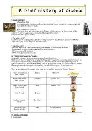 English Worksheet: A brief history of cinema