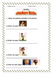 english teaching worksheets chicken little. Black Bedroom Furniture Sets. Home Design Ideas