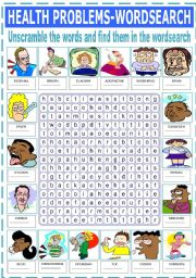 English Worksheets: HEALTH PROBLEMS - WORDSEARCH