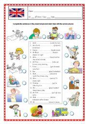 English Worksheets: Action Verbs- matching