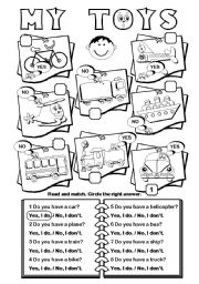 English Worksheets: My Toys (transport vocab)