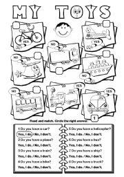 English Worksheet: My Toys (transport vocab)