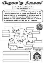 OGRE´S FACE! - READING, WRITING, COLOURING AND MATCHING ACTIVITY.