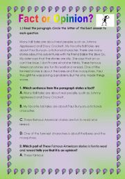 English Worksheets: Fact or opinion