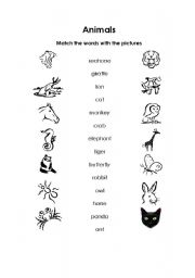 English Worksheets: Match the animals with the words