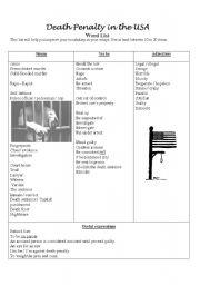 English Worksheet: death penalty: useful vocabulary