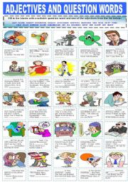 English Worksheet: ADJECTIVES AND QUESTION WORDS
