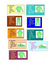 English Worksheet: Let�s go shopping - activity cards and sample dialogue (2 pages)