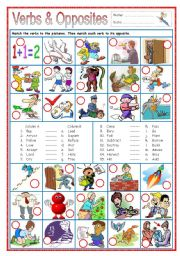 English Worksheet: Verbs & Opposites 1