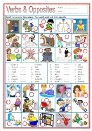 English Worksheet: Verbs & Opposites 2