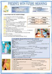 English Worksheet: presents with future meaning