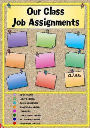 English Worksheet: OUR CLASS JOB ASSIGNMENTS POSTER! EDITABLE!