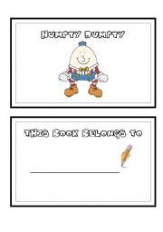 English Worksheet: HUMPTY DUMPTY MINI BOOK! Part 1