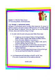 English Worksheet: Group work: Portugal - A multicultural country