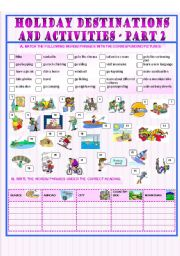 English Worksheet: Holiday Destinations and Activities - part 2