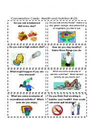 English Worksheet: Conversation Cards:  Health and Nutrtion  #s 25-32