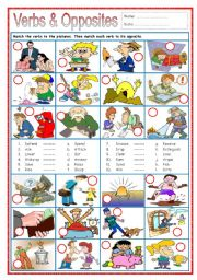 English Worksheet: Verbs & Opposites 3