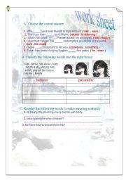 English worksheet: grammer worksheet