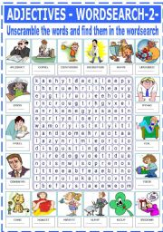 English Worksheets: ADJECTIVES - WORDSEARCH -2-