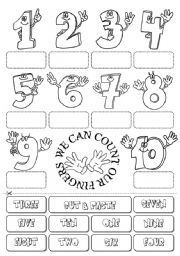 English Worksheet: Count the fingers (numbers 1-10)